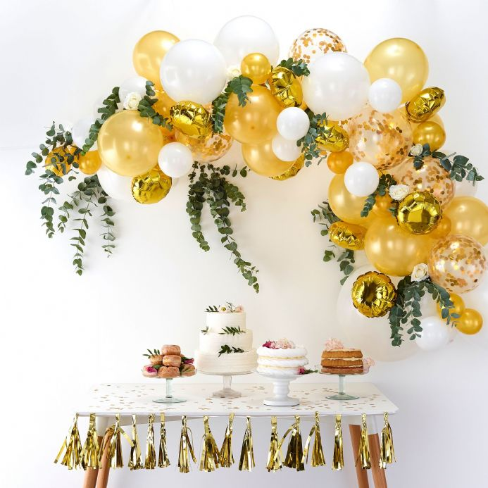 Gold & White Balloon Arch Kit
